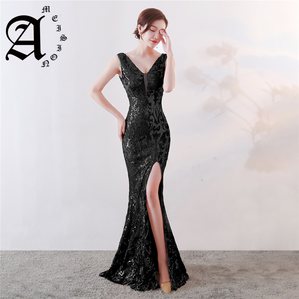 Ameision Evening dresses 2019 Sequined Zipper back Mermaid Party Gowns Backless Floor length Trumpet Prom dresses in Evening Dresses from Weddings Events