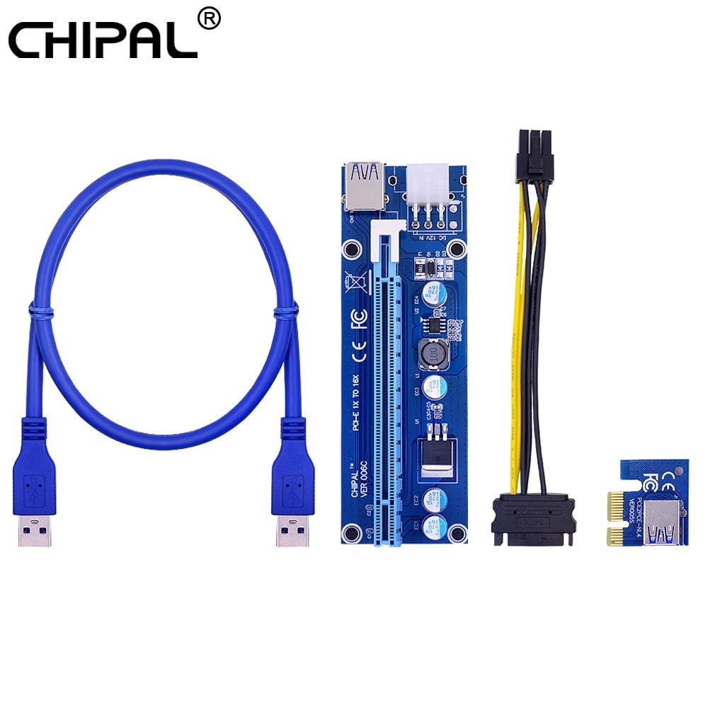CHIPAL VER006C 60 см PCI-E Riser Card 006C PCI Express PCIE 1X к 16X адаптеру USB 3,0 кабель SATA к 6Pin питание для майнинга