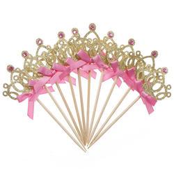 10 шт./лот 1st День рождения украшения игрушки шляпа Детская Вечеринка игрушка многоцветный кекс топперы Princess Crown Hat игрушки для детей