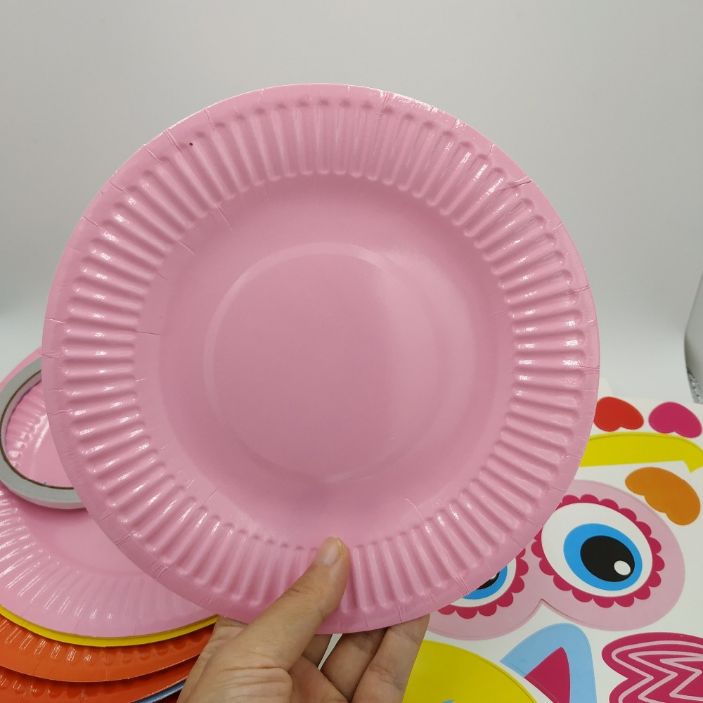 10PCSColor Disposable paper Plates painting Toys Cartoon DIY handmade materials package kindergarten kid's puzzle stickers tray