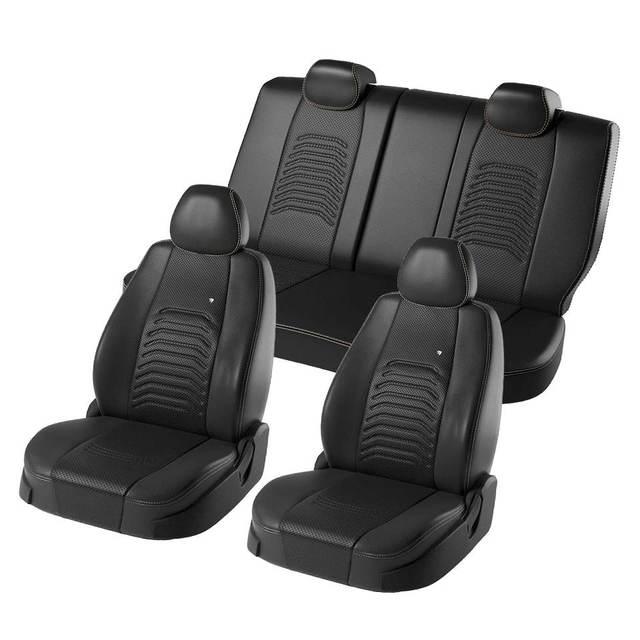 Для Hyundai Solaris 2017-2019 комплект модельных авточехлов (Дэнвер экокожа)