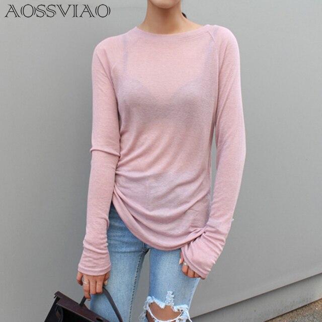 Sexy Mulheres Manga Comprida T-shirt O Pescoço Slim Fit Quente 2019 Primavera Verão Camisetas Básicas Mulheres Coreanas Tops Preto Branco Azul rosa