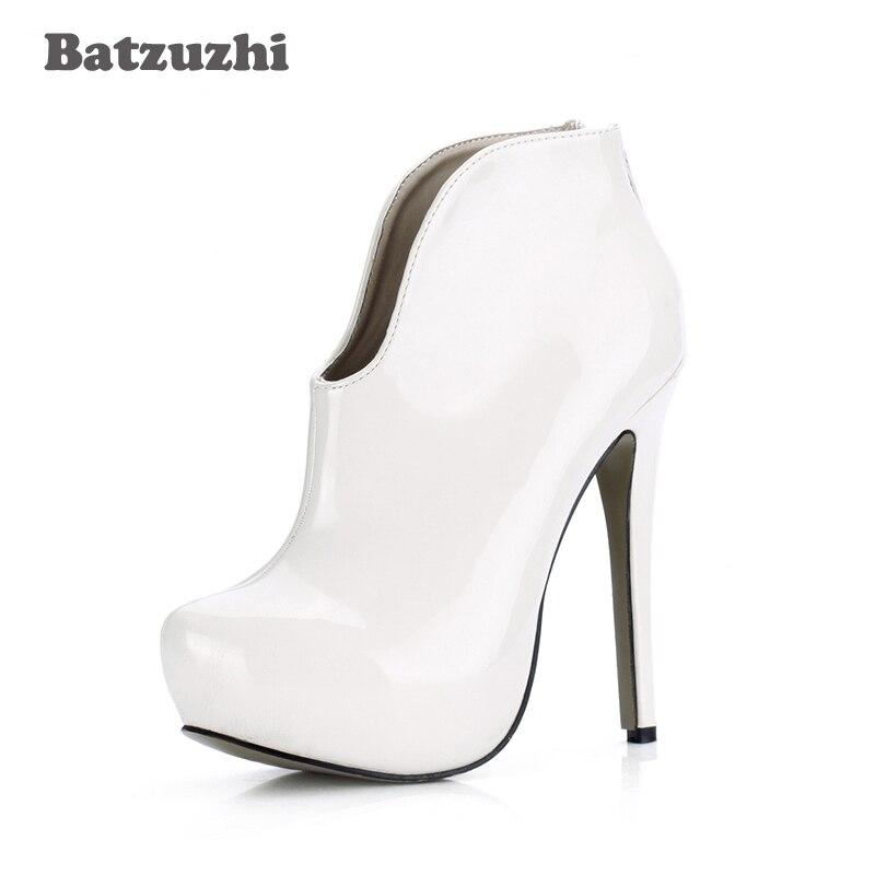 Batzuzhi-sexy Botas Mujer Sexy 14 cm blanc en cuir bottines femmes Anutumn hiver bottines pour femmes fête et mariage, 43