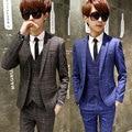 O envio gratuito de new três-pedaço conjunto terno colete dos homens masculinos casuais moda 2016 Coreano de slim pequena ocupação do noivo ternos de casamento