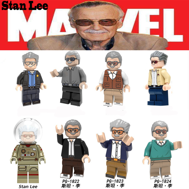 For Legoing Marvel Stan Lee Figures Super Heroes Author Character Bricks Building Blocks legoings Toys Gifts For Children