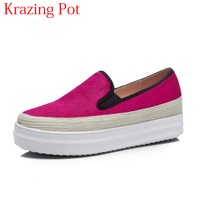 Superstar Thick Bottom Med Heel Slip on Horsehair Casual Shoes Round Toe Loafer Sneaker Increased Women Vulcanized Shoes L1f1