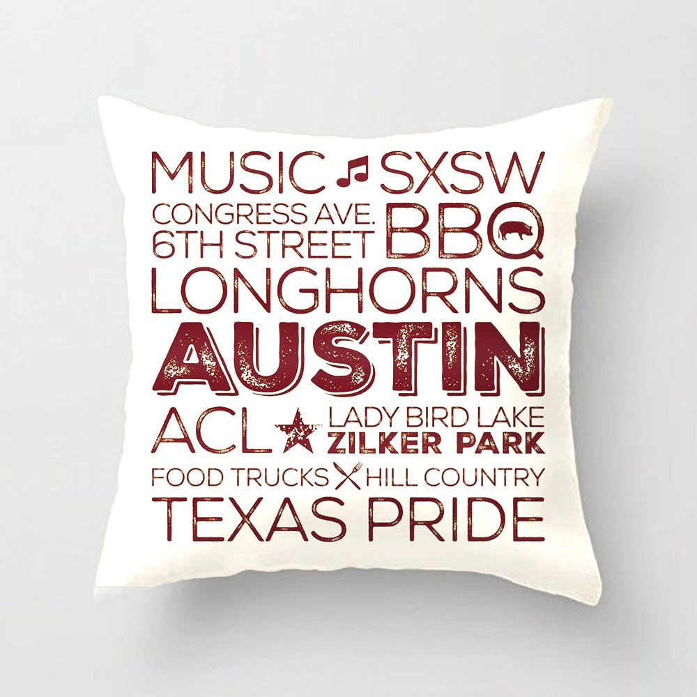 Best Of Austin Texas Throw Pillow - Brown Decorative Cushion Cover Pillow Case Customize Gift By Lvsure For Sofa Seat Pillowcase