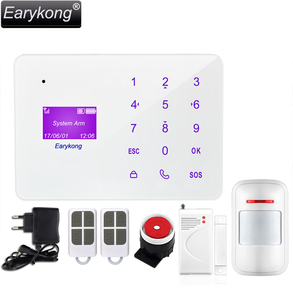 NEW Earykong 433MHz Wireless Home Burglar GSM SMS Alarm System, English Russian Spanish French Language Touch Keyboard