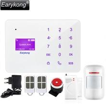 Новый earykong 433 мГц Беспроводной Главная Охранная GSM SMS сигнализация, Английский Русский Испанский Французский Язык сенсорная клавиатура