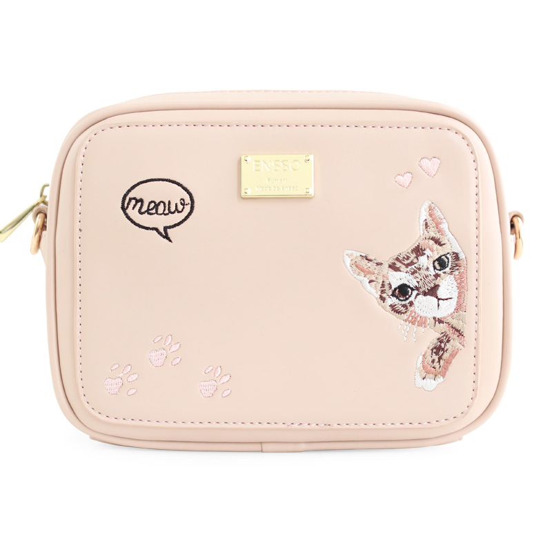 ENSSO New Pink Lolita High Quality Small Cartoon Cat Embroidery Animal  Faux Leather PU Women's Messenger Crossbody Bags Flap
