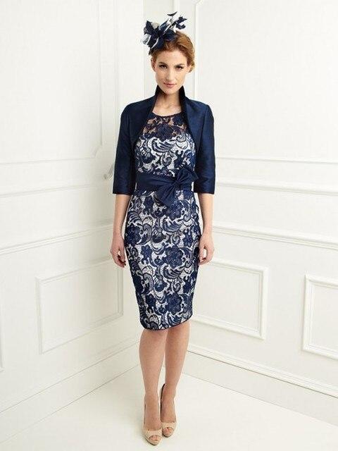 Горячая распродажа вмс голубого атласа мать невесты платья с курткой половиной рукавов совок колен оболочка мать платье MQ072
