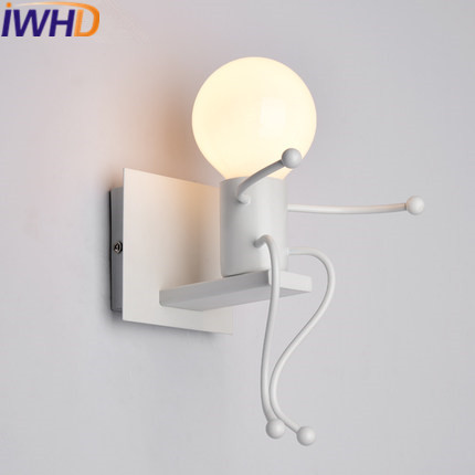 IWHD Iron Children Wall Lamp Modern Fashion LED Wall Lights For Home Lighting Fixtures Creative Stair Bedroom Applique Luminaire modern lamp trophy wall lamp wall lamp bed lighting bedside wall lamp