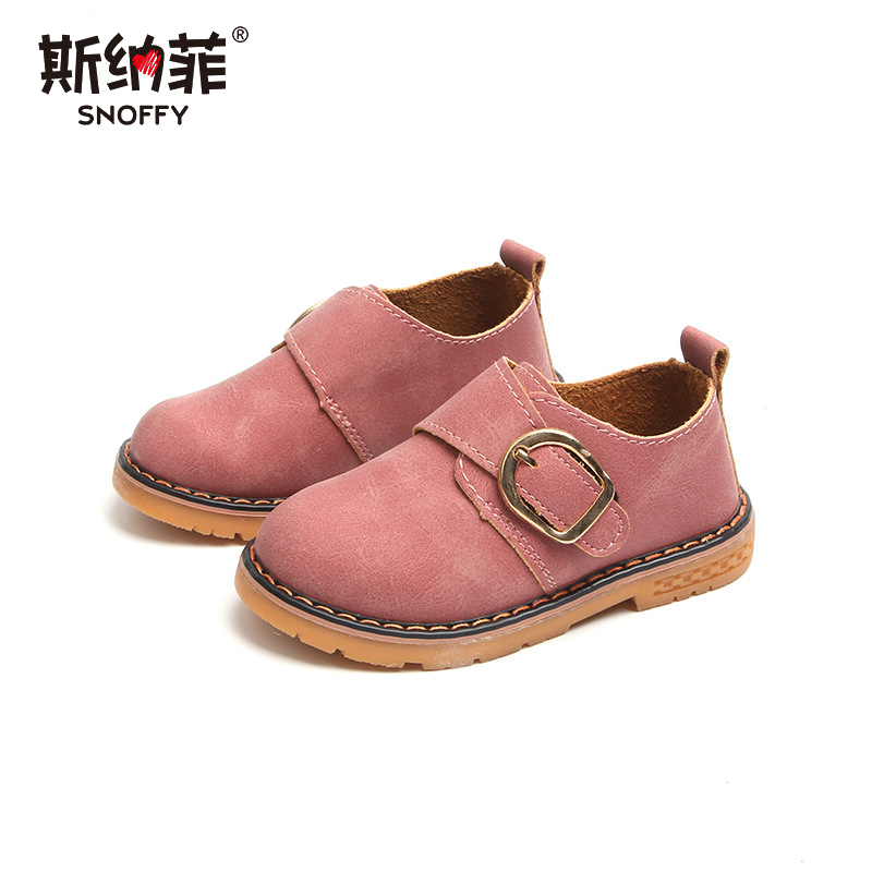 2018 spring and autumn new boys and girls leather non-slip round head children students shoes 21-30 yards