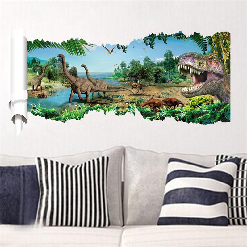 Popular Design 3D Hole Famous Cartoon Movie Wall Sticker For Kids Room Decorative Gifts Dinosaur Park Mural Living Bedroom Decal