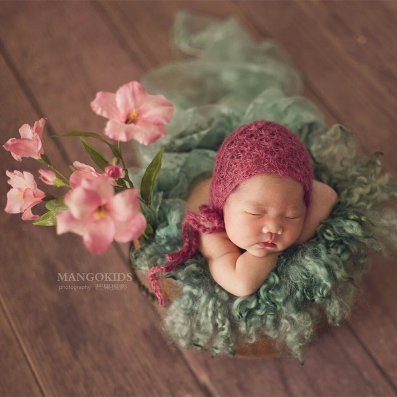 Newborn bonnet photography props,Angola mohair hat for baby photography props(China)