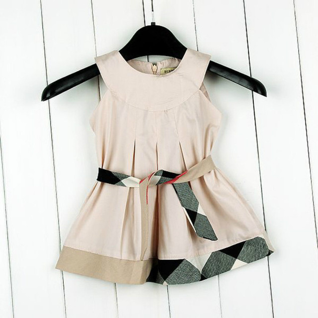 2017 fashion baby dress sleeveless solid colors bow plaid baby clothing summer British style cotton child outfits vest dresses