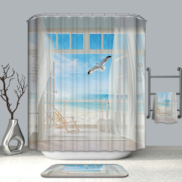 Summer Hot Bath Curtains Fake Window Beach Scenery Pattern Shower Polyester Washable Bathroom Products