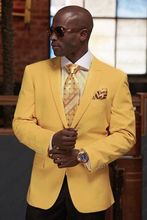 2016 Custom Made Yellow Blazer Brown Pants 2 Pieces Mens Wedding Prom Party Suits Casual Man