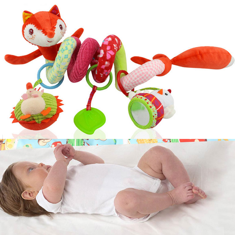 Infant Crib Revolves Around Plush Rattles Toy Movable Cartoon Animal Fox 0 3 Years Baby Bed
