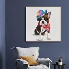 Laeacco Canvas Calligraphy Painting Cartoon Animal Wall Art Watercolor Dog Posters and Prints for Living Room Home Decoration karinluna new arrivals big size 31 43 round toe platform women shoes woman elegant spike high heels party office lady pumps