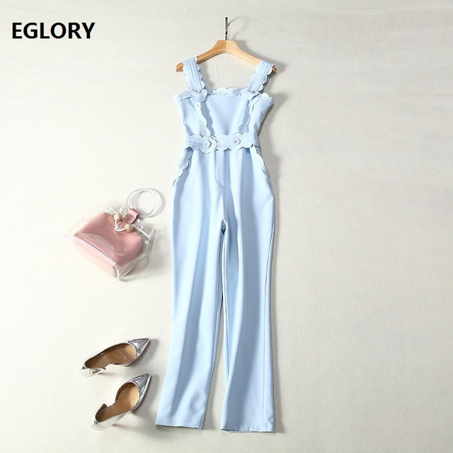New 2019 Summer Fashion Jumpsuits Ladies Spaghetti Strap Tunic Buttons Sleeveless Casual Blue Pant Overalls Women Club Jumpsuit