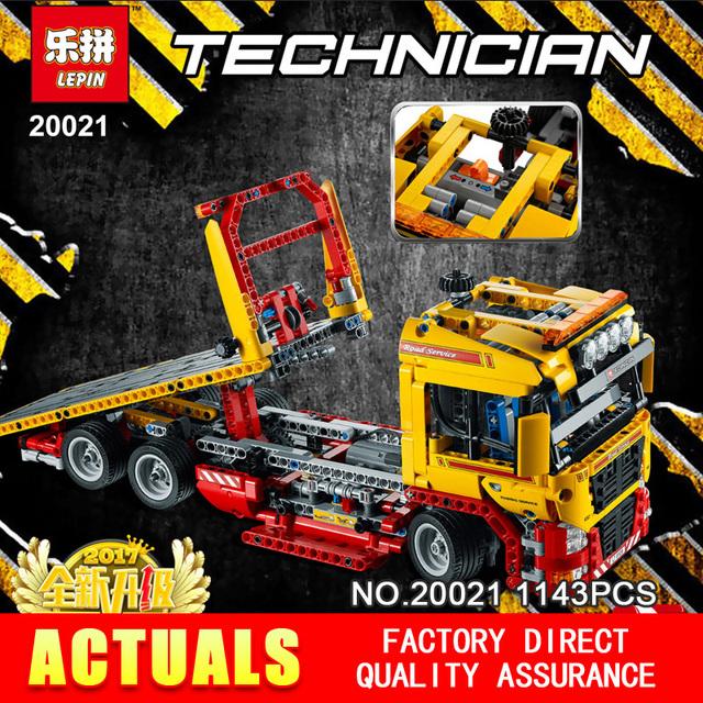 Nueva LEPIN 20021 serie técnica 1143 unids remolque de plataforma Modelo Building blocks Ladrillos Compatible 8190 Para la Educación de Juguete de Regalo Coche
