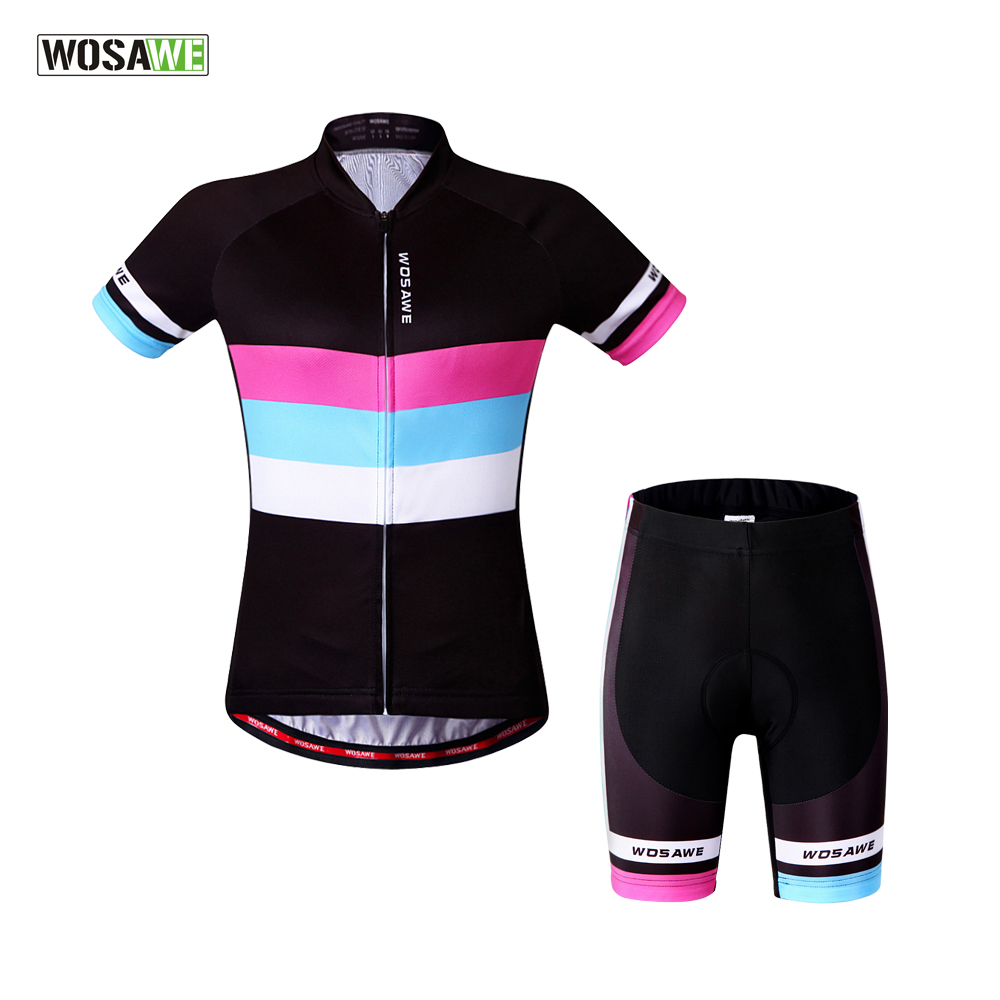 WOSAWE Women Cycling Short Sleeve Jersey + 4D Gel Padded Shorts Set Bicycle Cycling Clothing Quick-Dry MTB Road Bike Sportswear santic cycling clothing women short sleeve breathable cycling jersey sets padded road mountain bike shorts 2018 bicycle clothes