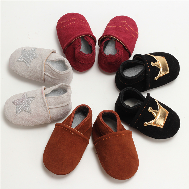 100-Genuine-Leather-Baby-Boys-Shoes-Baby-Moccasins-Crown-and-Stars-Soft-Bottom-First-Walkers-Free-shipping-5