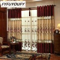 Nhung khâu thêu Sang Trọng rèm cửa Châu Âu shading rèm cửa Sổ cho phòng khách/Phòng Ngủ Thanh Lịch Màn Rèm Cửa
