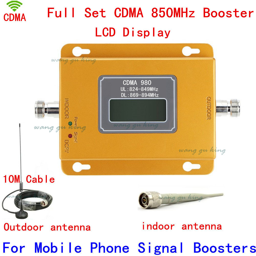 CDMA 850mhz Signal Booster For Mobile Phone Gain 70db LCD Screen Outdoor Magnetic Base Antenna With Cable Indoor Whip Antenna