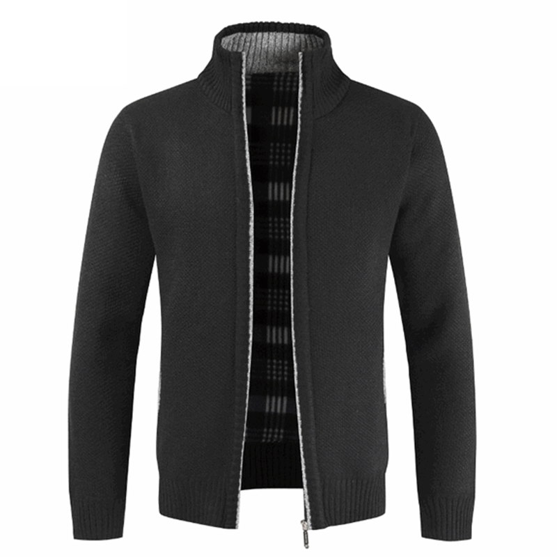Man Autumn Winter Clothing M-3XL Plus Size Zipper Knitted Sweaters Male Long Sleeve Stand Collar Cardigan Jacket Coat Outwear