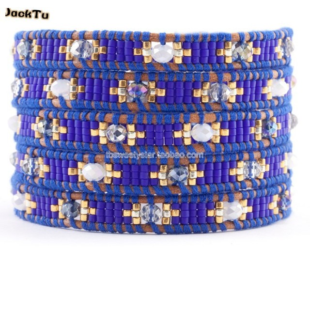 2017 summer dark blue seed beads crystal leather wrap bracelet