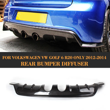 цена на MK6 R20 E style FRP rear bumper lip diffuser with Splitter Aprons For VW Golf 6 VI MK6 R20 bumper 2010 2011 2012 2013