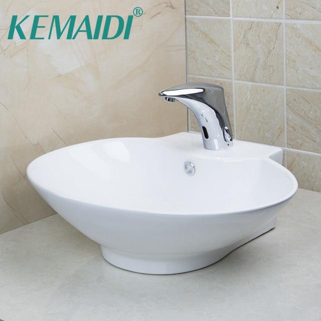 Kemaidi White Ceramic Round Bathroom Sinks Countertop Bowl Vessel Basins With Sensor Faucet Hand