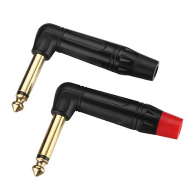 Image 3 - 10pcs Mono Jack 6.35mm Right Angle Male Plug Gold Plated 2 Pole 1/4 Inch 6.3mm Mono Plug Microphone Connector 5Pairs Red+BlackConnectors   -