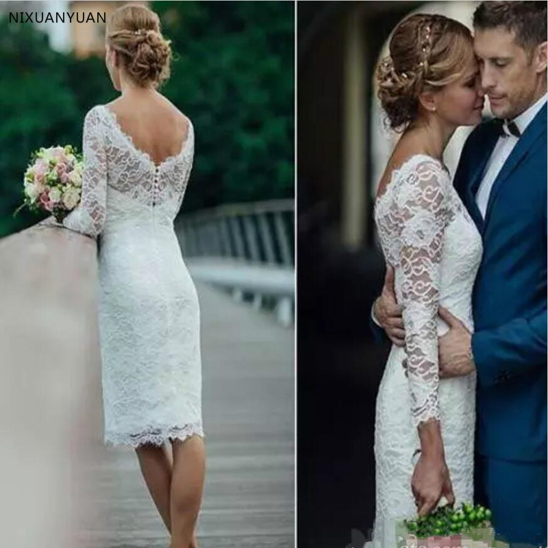 Summer 2019 Short Wedding Dresses Long Sleeve Knee Length Simple White Ivory Short Sheath Bohemian Wedding Dresses