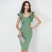 Summer Dress Spaghetti Strap Ruffles Bodycon Women Dress Office Lady Vintage Bandage Socialite Sexy Party Pencil Dress Vestidos цена