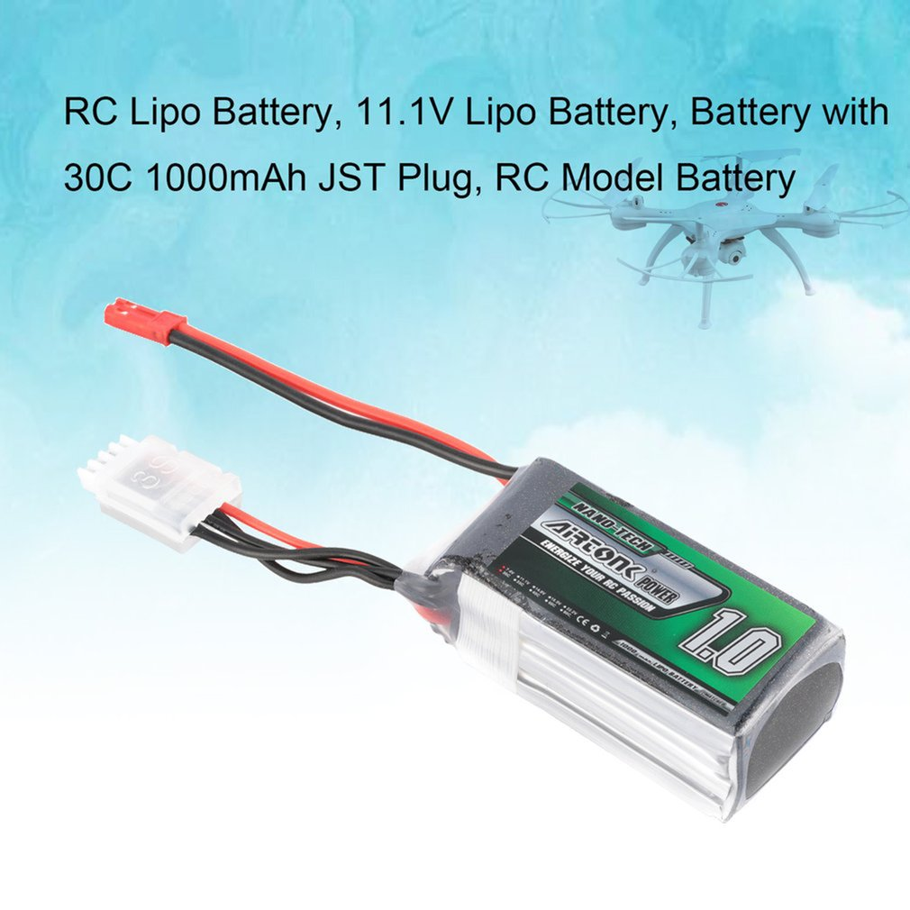 Airtonk Power 11.1V <font><b>1000mAh</b></font> 30C <font><b>3s</b></font> 1P <font><b>Lipo</b></font> Battery JST Plug Rechargeable for RC Racing Drone Quadcopter Helicopter Car Boat image
