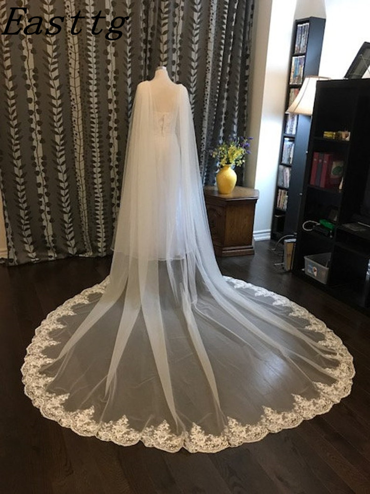 New Arrival White/Ivory Wedding Cape Veil Bridal Cloak Lace Shawl 108