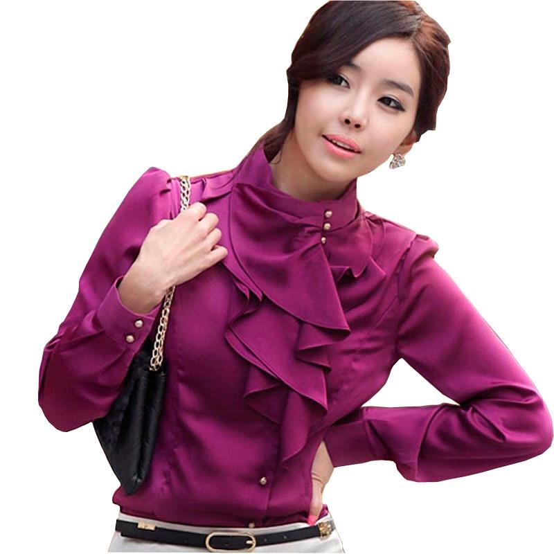 Wanita Korea baru Fashion Blus Sutra Plus Ukuran S-2XL Mengacak-acak - Pakaian Wanita - Foto 1