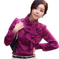New coreano signora di seta di modo camicette più il formato s-2xl increspato collare manica lunga delle donne ol viola camicie bianche