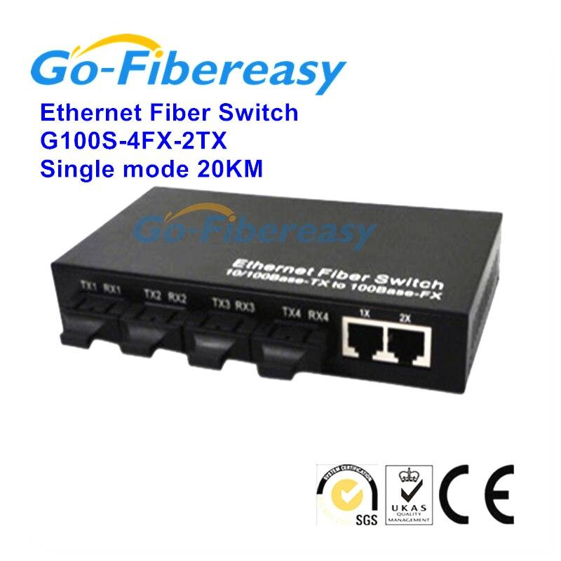 4fx/2tx Ethernet Волокно переключатель 10/100 Мбит/с оптический media converter одномодовый одноядерный 2utp RJ 45 для 4sc разъем