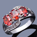Wholesale Sale Fashion New Lady Jewelry Women's Ring Imitated Red Garnet White Gold Filled Wedding Rings R014WRG