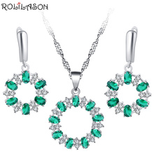 ROLILASON Green Crystal 925 Silver Inlay Earrings / Necklace Pendant Wedding Gift for Womens Exclusive Design JS801
