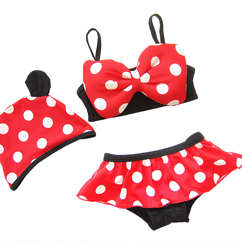 Kids Bikini Sets 2018 Baby Girls Swimsuit with Cap Bikini Swimming Suit Two Pieces Swimwear Polka Dot Bathing Suits  Suit Red