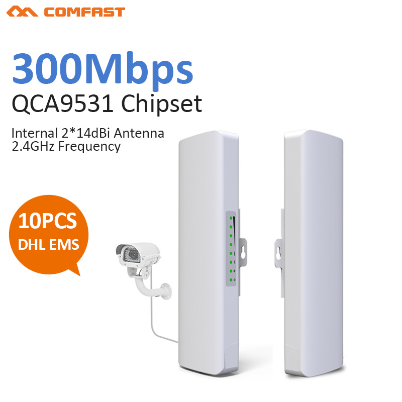 10pcs Outdoor Weatherproof CPE/Wifi Extender/Access Point/Router/WISP 2.4GHz 300Mbps Dual 14dbi Antenna 48V Poe Wifi Bridge lafalink pw300s48c 300mbps 2 4g wireless inwall poe access point 48v wifi extender