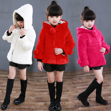 2019 New Winter Baby Girls Clothes Faux Fur Fleece Coat Warm Wool Blends Snowsuit 2-10 Years Old Baby Hooded Jacket Outerwear brand baby infant girls fur winter warm coat 2018 cloak jacket thick warm clothes baby girl cute hooded long sleeve coats jacket