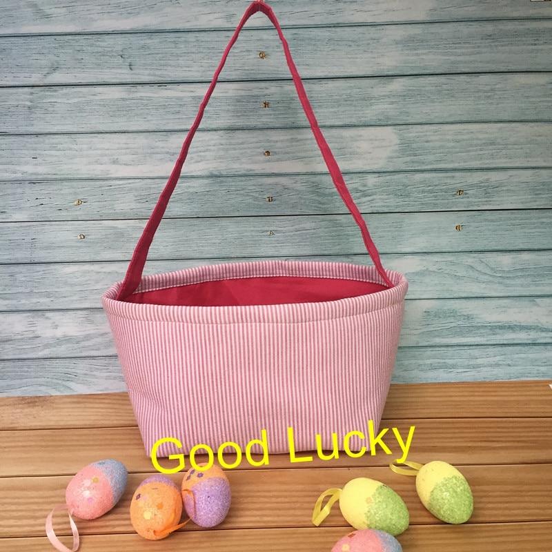 Blue Stripe Easter Basket for Kids Bunny Bag for Easter