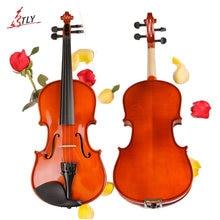 TONGLING Marke Volle Größe Massivholz Anfänger Violine Handwerk Matt Violino Musik Instrument + Fall + Bogen String + Kolophonium + Mute