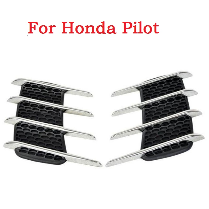 car styling Car sticker Shark gills outlet decoration side draught hood vents air intake engine cover modified for Honda Pilot bjmycyy aluminum alloy air outlet chrome trim ring car dashboard air vents cover decoration for audi a3 s3 2013 2016 q2 2017